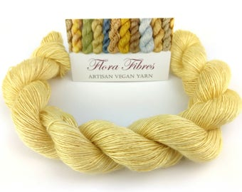 "Hand spun naturally dyed vegan bamboo heavy lace weight yarn ""Lemon Curd"" for knitting crochet weaving UK"