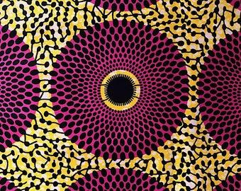 African fabric print 50 cm x 117 cm (Ankara) - Circle-Fuchsia/yellow