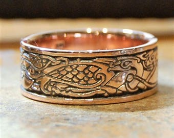 Celtic Birds and Dogs 14 karat GOLD, Celtic ring, Celtic band