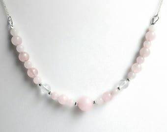 Necklace Rose Quartz and rock crystal & 925 sterling silver chain. Necklace silver, natural stones.