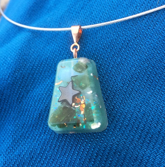 Blue Ocean Dreams Orgone Energy Generator- Spirit Guide Messages Orgone- Fairy Orgone Necklace- Aura Healing Energy Orgone Pendant