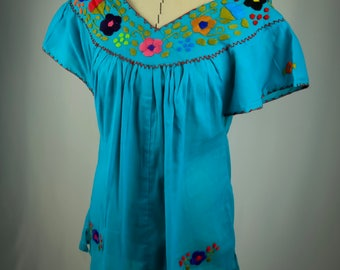 Modern Oaxacan Huipil with Hand Embroidery