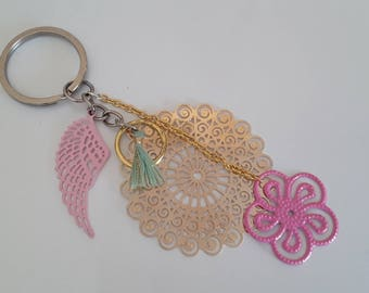 Keychain or handbag elegant filigree