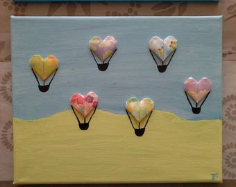 origami heart balloons for children room collage painting