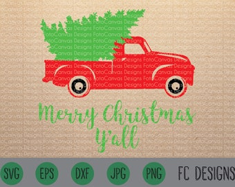 Merry Christmas Y'all SVG, Old Truck, Vintage, Antique, SVG, Cricut, Silhouette, Christmas, Tree, Truck, Design, File, Holidays, Red Truck