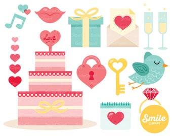 Pink and Mint Wedding Clipart Illustration for Commercial Use   0074