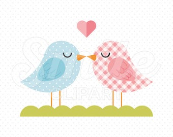 BIRDS KISSING Clipart Illustration for Commercial Use   0090