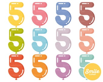 Number Five Balloon Clipart Illustration for Commercial Use   0513