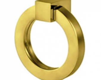 "Cabinet Pulls-Solid Brass 4"" Round Ring Pulls-Brass Pulls- Square Pulls Drawer Pulls -"