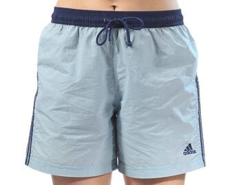 Adidas Shorts Pastel High Waist Shorts 70s 80s Baby Blue Sports Athletic Colored Hipster 1970s Mod High Rise Vintage Retro Medium Large