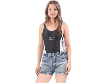 Denim Shorts ACID WASH Denim 80s High Waisted Hotpants Jogging Jean Pants 1980s Vintage Bohemian Blue Retro Medium Waist 30