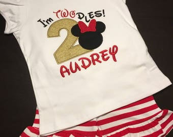 Minnie Mouse Inspired second Birthday Outfit