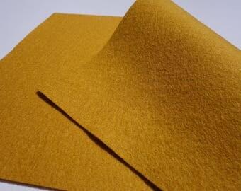 """100% Wool Felt Sheet in Color MUSTARD - 18"""" X 18"""" Wool Felt Sheet - Merino Wool Felt - European Wool Felt"""