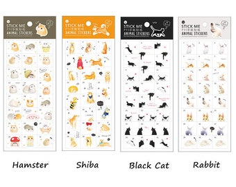 Planner/Journal Sticker Set #2 - Cute Animals, Hamster, Shiba, Black Cat, Rabbit