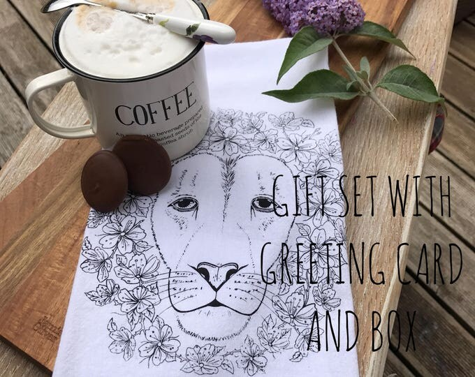 Lion Table Napkins, Tea Towel And Greeting Card - Gift Set