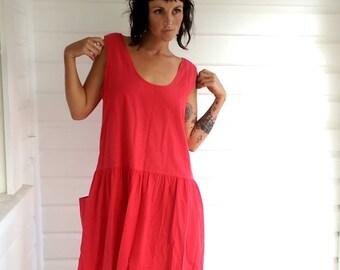 Red 80s drop waist midi dress lagen look slouchy size 18 plus size bright grunge