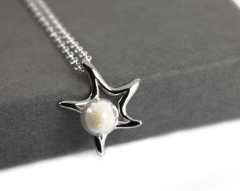 DIY Breast Milk Pearl Sterling Silver Star Necklace Kit, Do it Yourself DNA Breastmilk keepsake