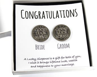 Bride & Groom Lucky Sixpence Coins Wedding Keepsake Card Gift Boxed, Good Luck Present, Lucky Coin, wedding gift, Wedding Accessories