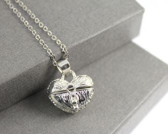 Heart Locket with Fillable Glass Tube, Ashes Holder, Urn Locket, Fillable Jewelry, Cremation Necklace