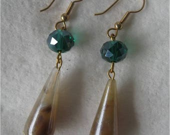 pearlized lucite and teal glass earrings with gold wires & brass flower bead caps