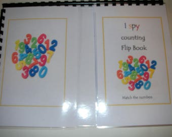 I spy the numbers flip book game