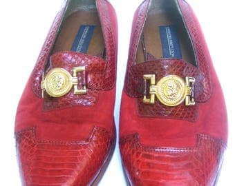 Men's Red Snakeskin Suede Shoes US Size 10.5 M