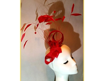Coral Orange Fascinator, Tall Feather Fascinator, Wedding Fascinator, Unusual Fascinator, Statement Headpiece, Race hats, Derby Hat, Wedding