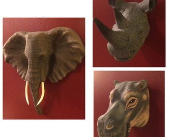 Handpainted Papier-Mâché Safari Animals - Elephant Rhino Hippo