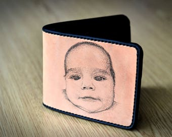 Newborn gift for new dad , mens leather wallet, customized billfold hand engraved with the portrait of the newborn. First child gift for dad