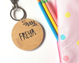Fern Bag Tag / Keyring Wood Bamboo Personalised Custom-floral-botanical-school-kinder-wooden-school bag-bamboo-kindergaten