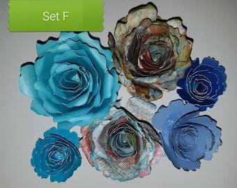 Textured,distressed,rolled paper roses, scrapbook embellishments,3D flowers,rolled flowers,scrapbook supplies,handmade,wedding decor, wreath