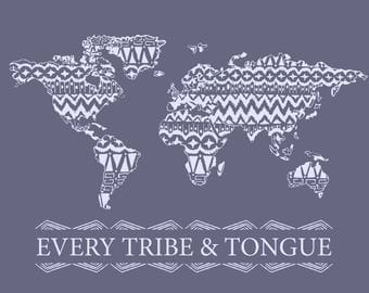 Every Tribe and Tongue Wall Art Dark Purple