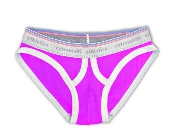 Retro ultra low rise briefs in magenta pink, new rainbow jockey briefs, 1980s 1970s mens briefs, retro-futuristic y-fronts geek underwear