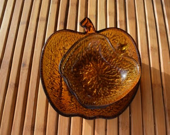 Dessert service amber glass structured apple shape - Vintage -Century 70
