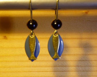 Bronze earring with blue sequin and fish