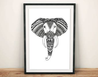 Elephant Mandala Art Decor, Elephant art, Hand Drawn Art, Printable Inspirational Poster, elephant wall art, indian art, black and white