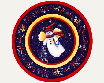 195 Snowflakes From Heaven-Christmas Wood Plate-Decorative Painting Pattern Packet-Snow Angel Sprinkling Snow-Snowflakes-Colorful Lettering