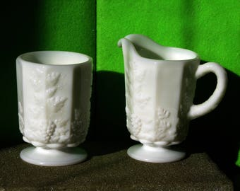 Vintage Milk Glass, Westmoreland Milk Glass Sugar and Creamer Set, Made by Westmoreland in the 1940's