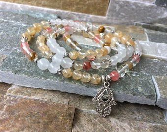 Mala necklace 108 beads Lotus Hamsa jade quartz prayer chain