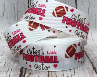 """1"""" Cutest LIttle Football Sister Sports Back to School Girls Baby Hairbow Grosgain Ribbon - Sold by 5 yards"""