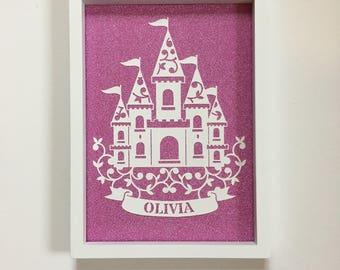 Personalised princess wallart, princess castle, fairytale castle, princes and princesses, childrens wall art,