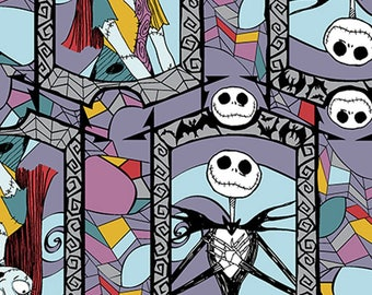 Nightmare Before Christmas - Sally and Jack Stained Glass Cotton Fabric by the yard
