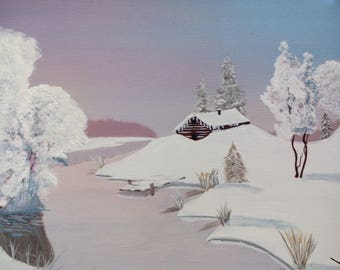 Cabin in the snow, Acrylic paint.