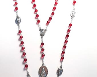 Seven Sorrows Chaplet,Seven Sorrows Rosary,Red Seven Sorrows Chaplet,Our Lady of Seven Sorrows Chaplet,Chaplet of Seven Sorrows
