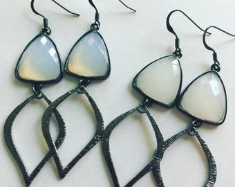 Beautiful Gunmetal dainty earrings