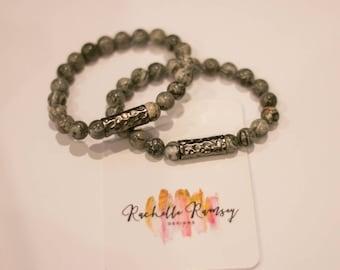 Gray multi beaded bracelet
