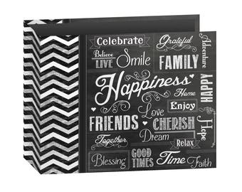 Pioneer Scrapbook Album - 3 Ring - Chalkboard Print - Shared - 12 x 12 Inches