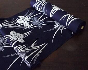 Dark navy, indigo blue, iris, Japanese yukata fabric, Japanese cotton fabric for yukata