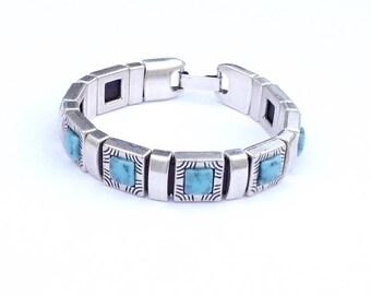 Turquoise Zamak bracelet, women's bracelet with turquoise, women's bracelet with turquoise