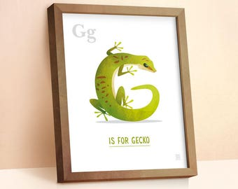 Gecko Print | Nursery Animal Print | Alphabet letters | Alphabet Print | ABC letters | Animal Prints for Nursery | Nursery Wall Art